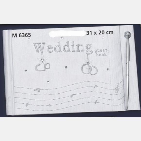 Βιβλίο ευχών γάμου στολισμένο με βέρες και καρδούλες