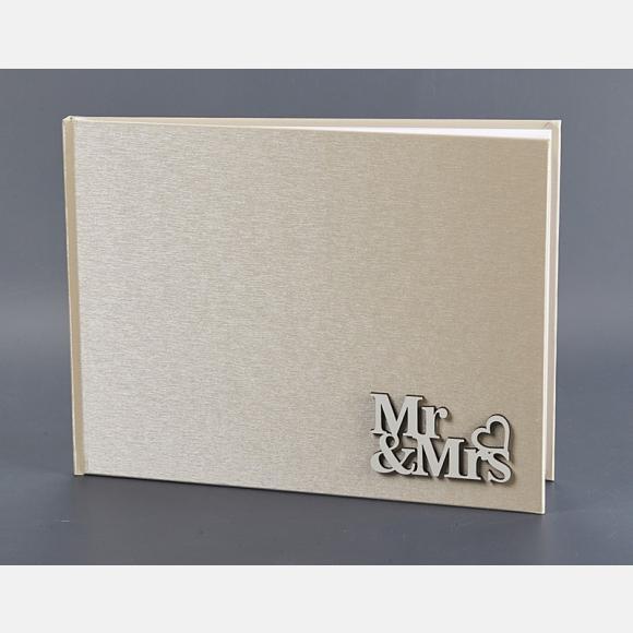 Βιβλίο ευχών γάμου εκρού στολισμένο με Mr&Mrs