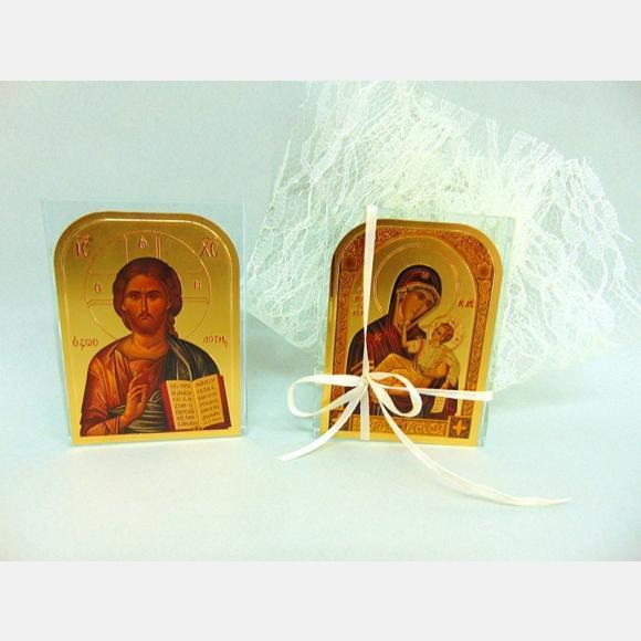 Μπομπονιέρα βάπτισης μεγάλη εικόνα πάνω σε γυάλινη πλάκα