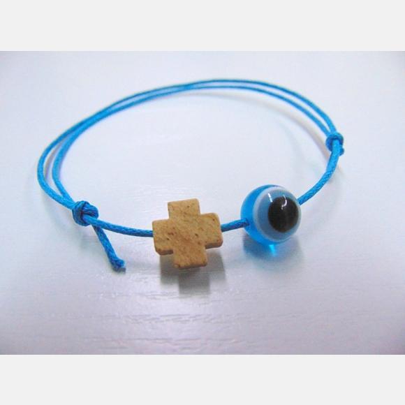 Μαρτυρικό βάπτισης για αγόρι βραχιολάκι με σταυρό και ματάκι