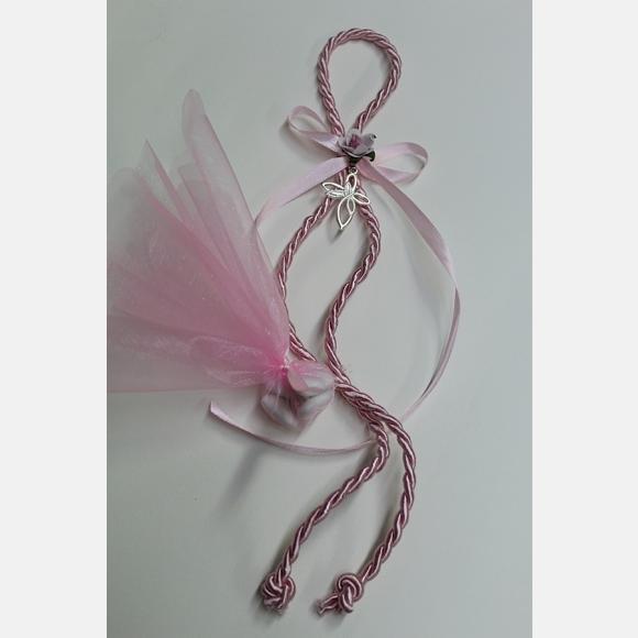 Μπομπονιέρα βάπτισης για κορίτσι με κορδόνι ροζ και σταυρό