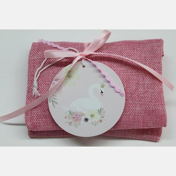 Μπομπονιέρα βάπτισης φάκελος λινός ροζ με παράσταση κύκνο