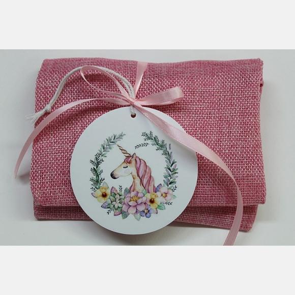 Μπομπονιέρα βάπτισης φάκελος λινός ροζ με παράσταση μονόκερο