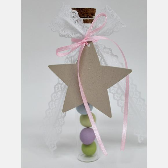 Μπομπονιέρα βάπτισης για κορίτσι γυάλινος σωλήνας με αστέρι
