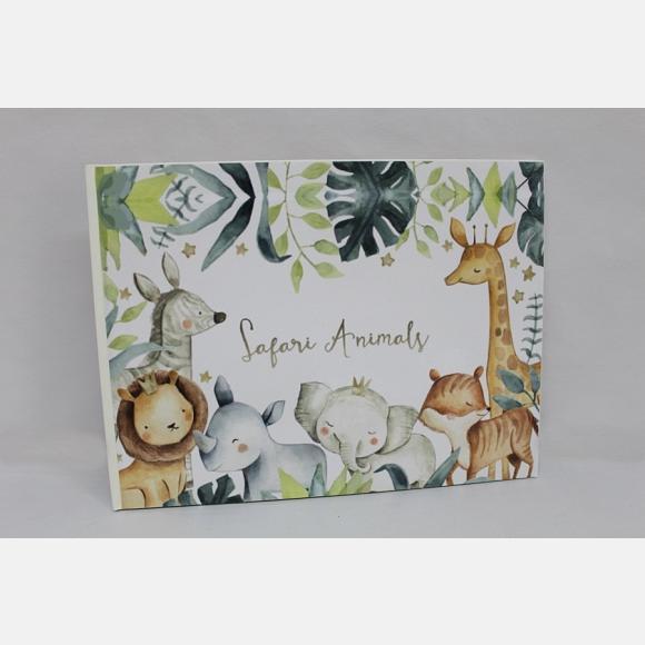 Βιβλίο ευχών βάπτισης για αγόρι με θέμα ζώα του δάσους