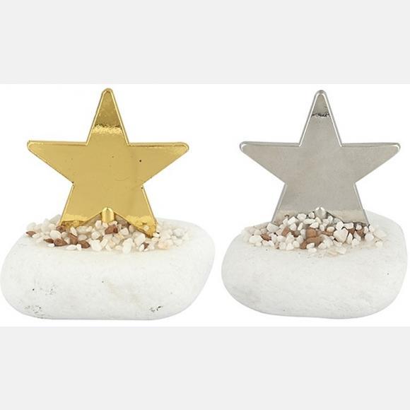 Μπομπονιέρα βάπτισης μεταλλικό αστέρι σε πέτρα