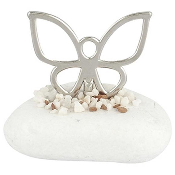 Μπομπονιέρα βάπτισης μεταλλική πεταλούδα σε πέτρα