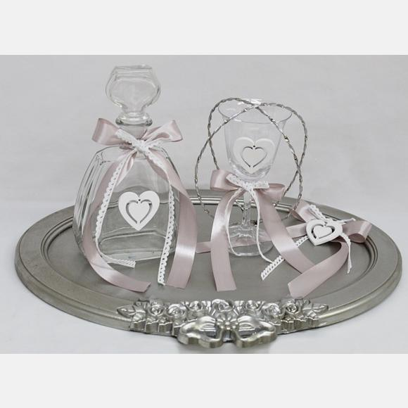 Σετ γάμου καράφα ποτήρι δίσκος με λευκή καρδιά και στέφανα