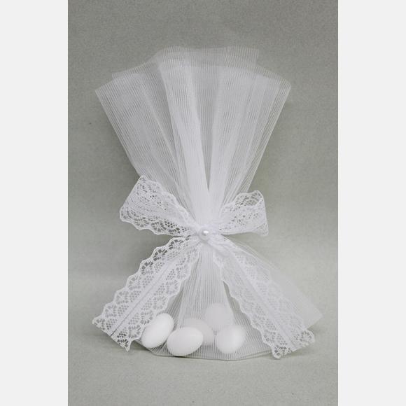 Οικονομική μπομπονιέρα γάμου τούλινη λευκή με δέσιμο δαντέλα