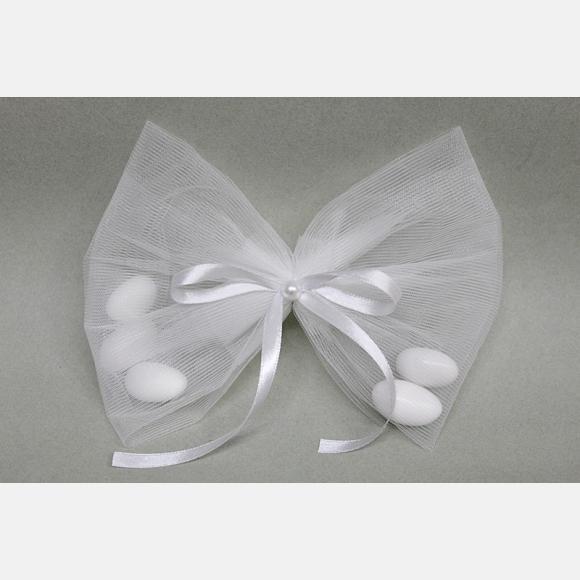 Οικονομική μπομπονιέρα γάμου τούλινη λευκή και σατέν κορδέλα