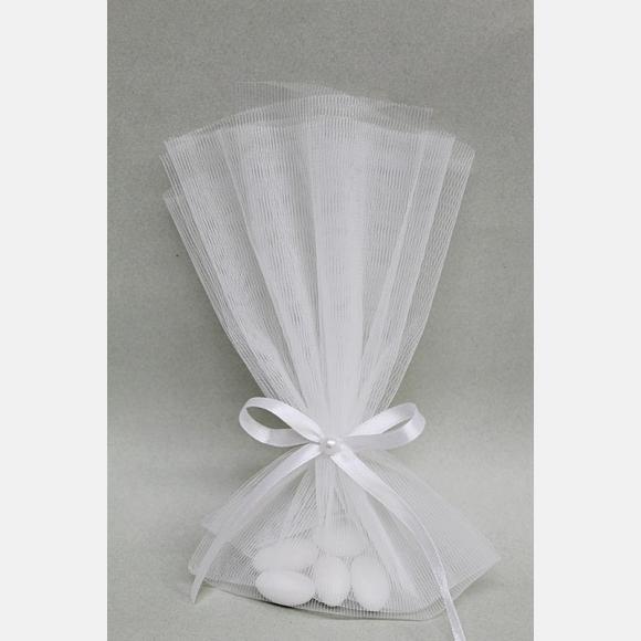 Οικονομική μπομπονιέρα γάμου τούλινη λευκή και πέρλα