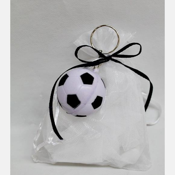 Μπομπονιέρα Βάπτισης πουγκί με μπρελόκ μπάλα ποδοσφαίρου