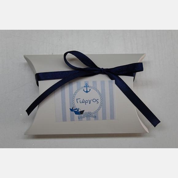 Μπομπονιέρα βάπτισης για αγόρι κουτί λευκό με θέμα ναυτικό