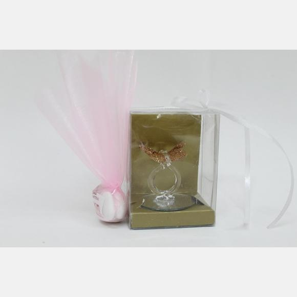 Μπομπονιέρα βάπτισης γυάλινη πεταλούδα μέσα σε διάφανο κουτί