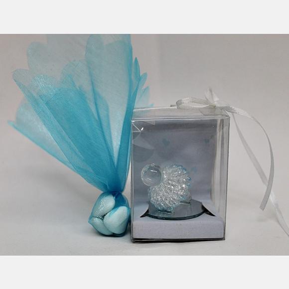 Μπομπονιέρα βάπτισης γυάλινη ομπρέλα σιέλ σε διάφανο κουτί