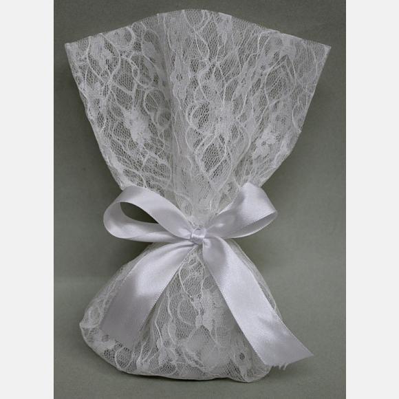 Μπομπονιέρα γάμου πουγκί λευκό με δαντέλα μαργαρίτα
