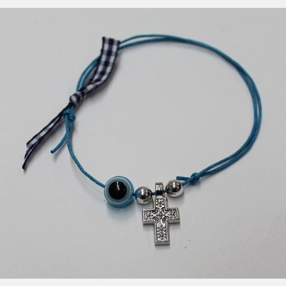 Μαρτυρικό βάπτισης βραχιολάκι με σταυρό και κορδέλα καρό μπλε