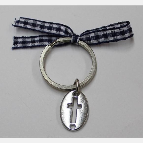 Μαρτυρικό βάπτισης με σταυρό μεταλλικό και κορδέλα καρό μπλε