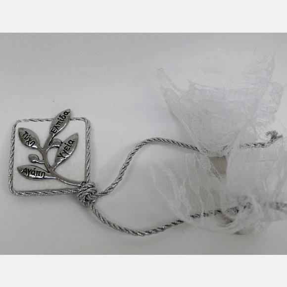 Μπομπονιέρα γάμου πέτρα με ασημί μεταλλικό κλαδί και ευχές