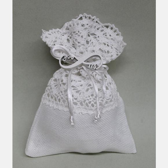 Μπομπονιέρα γάμου λευκό πουγκί καμβάς με δαντέλα και άπειρο