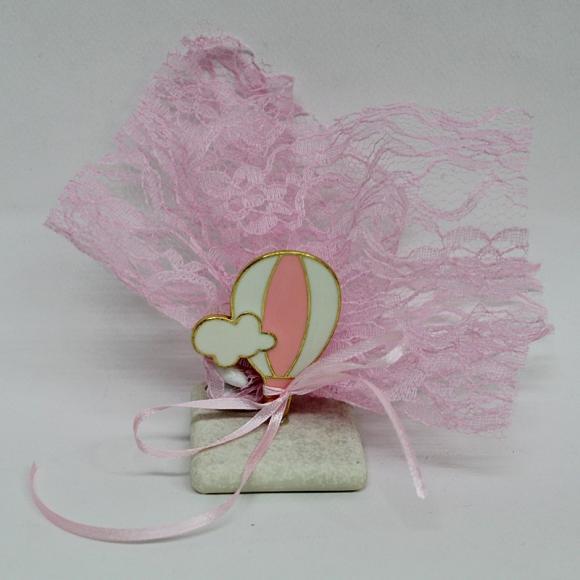 Μπομπονιέρα βάπτισης για κορίτσι πέτρα με αερόστατο ροζ