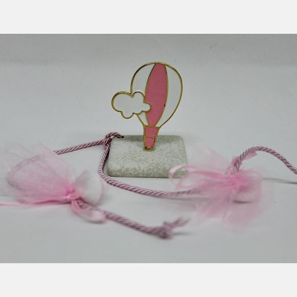 Μπομπονιέρα βάπτισης για κορίτσι αερόστατο ροζ πάνω σε πέτρα
