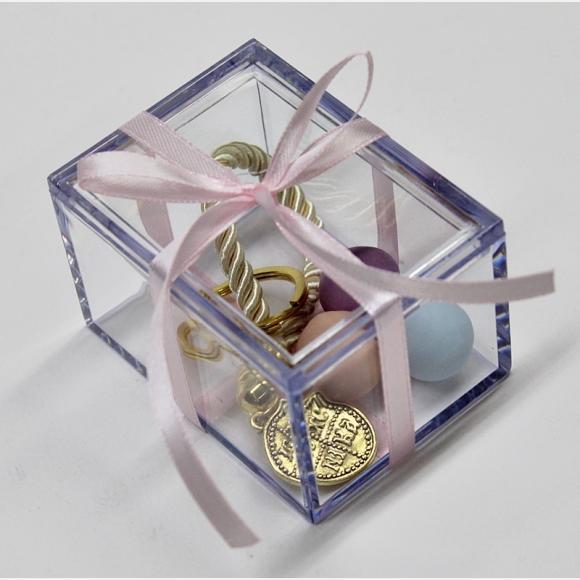 Μπομπονιέρα βάπτισης κουτί plexiglass και μπρελόκ κωνσταντινάτο